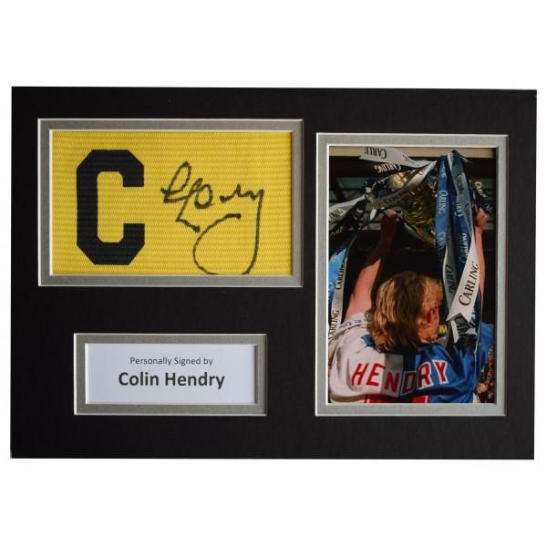 Colin Hendry Signed Captains Armband A4 photo display Blackburn Football & COA  Perfect Gift Memorabilia