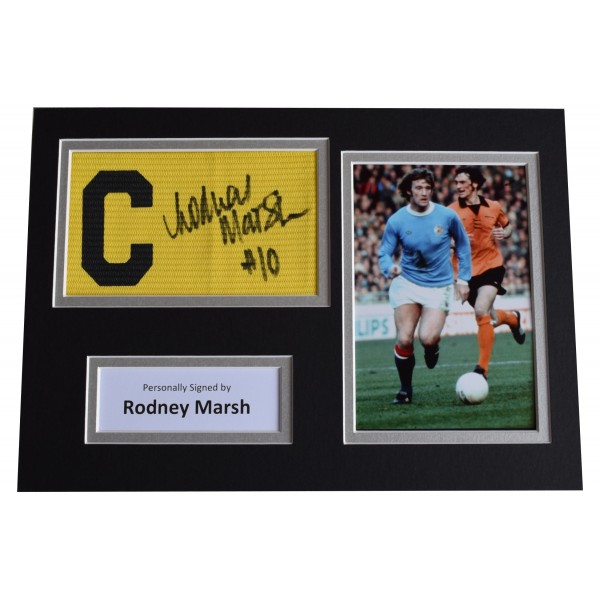 Rodney Marsh Signed Captains Armband A4 photo display Manchester City AFTAL COA Perfect Gift Memorabilia
