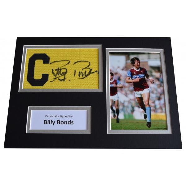 Billy Bonds Signed Captains Armband A4 photo display West Ham United AFTAL COA Perfect Gift Memorabilia