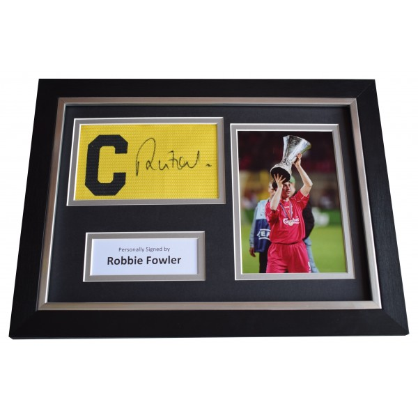 Robbie Fowler Signed Framed Captains Armband photo A4 display Liverpool & COA Perfect Gift Memorabilia