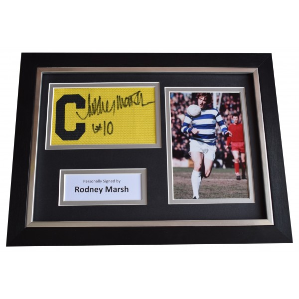 Rodney Marsh Signed Framed Captains Armband photo A4 display QPR Football COA Perfect Gift Memorabilia