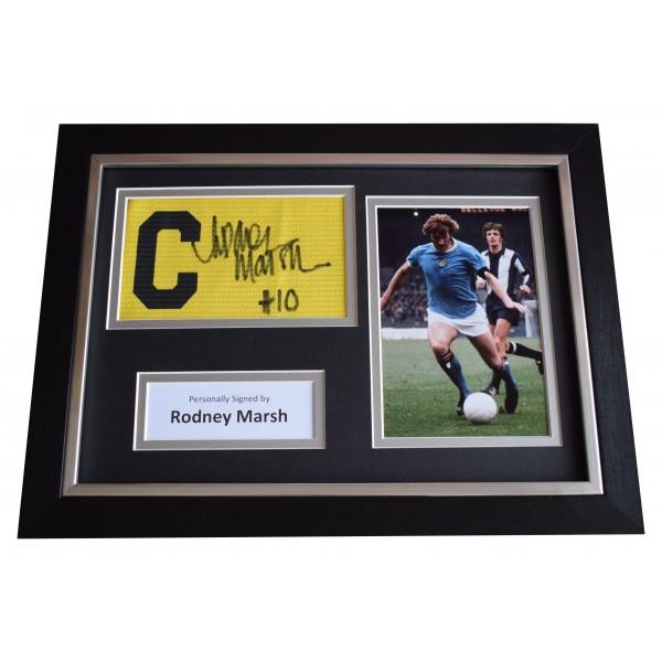 Rodney Marsh Signed Framed Captains Armband photo A4 display Manchester City COA Perfect Gift Memorabilia