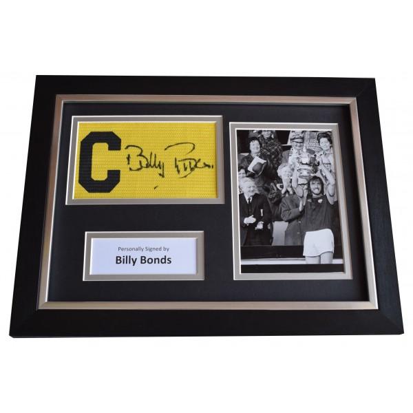 Billy Bonds Signed Framed Captains Armband photo A4 display West Ham AFTAL COA Perfect Gift Memorabilia