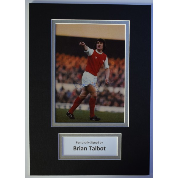 Brian Talbot Signed Autograph A4 photo display Arsenal Football AFTAL COA Perfect Gift Memorabilia