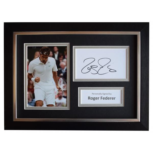 Roger Federer Signed A4 Framed Autograph Photo Display Tennis Sport AFTAL COA Perfect Gift Memorabilia