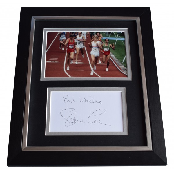 Steve Cram SIGNED 10x8 FRAMED Photo Autograph Display Olympic 1500 metres Perfect Gift Memorabilia