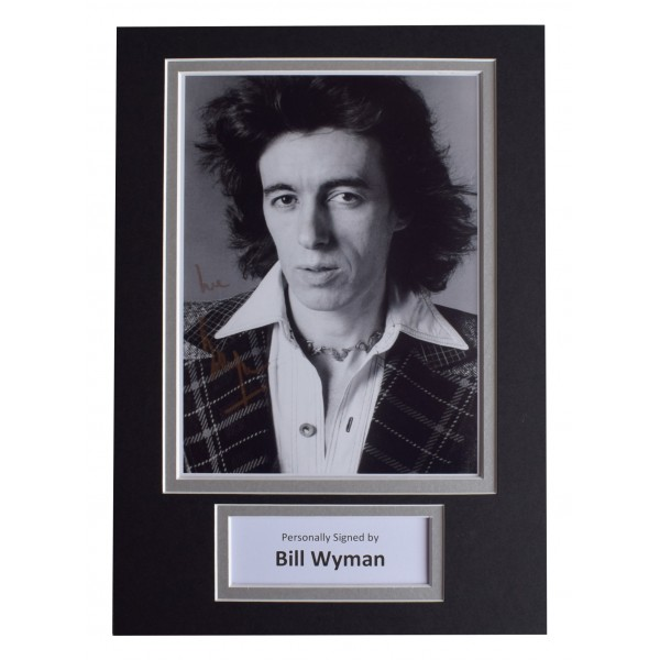 Bill Wyman Signed Autograph A4 photo display Rolling Stones Music AFTAL COA Perfect Gift Memorabilia
