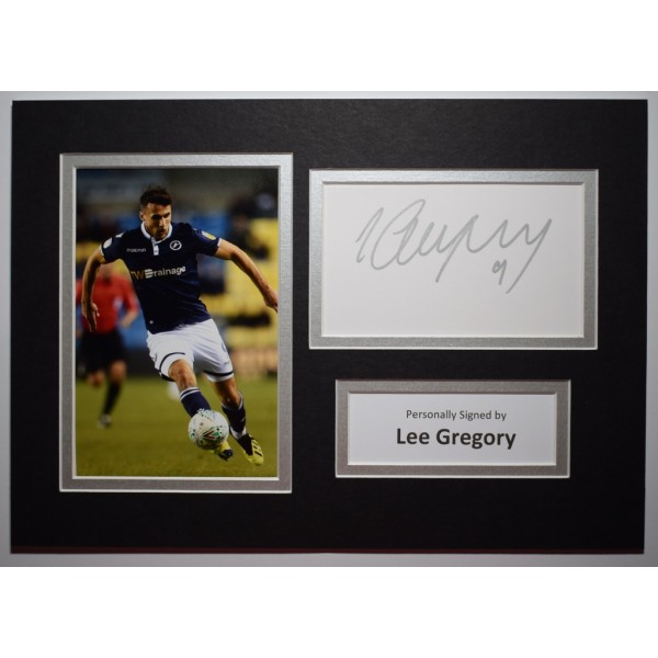 Lee Gregory Signed Autograph A4 photo Mount Display Millwall Football AFTAL COA Perfect Gift Memorabilia