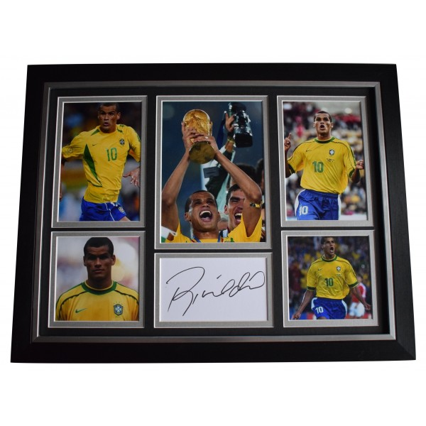 Rivaldo Signed Framed Autograph 16x12 photo display Brazil Football AFTAL COA Perfect Gift Memorabilia