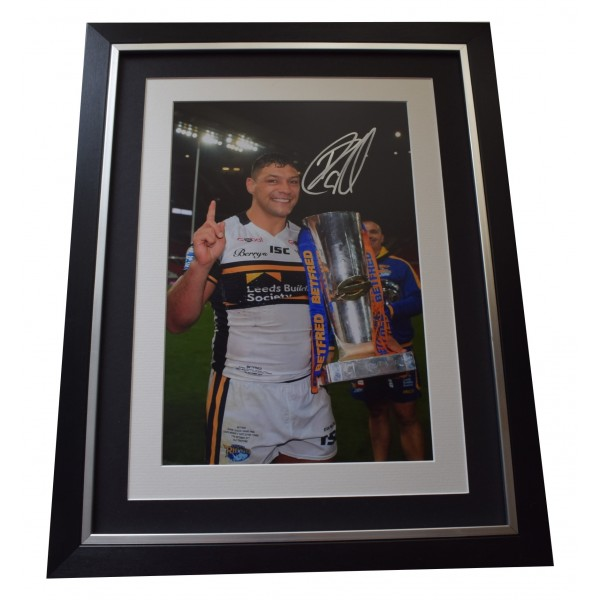 Ryan Hall Signed Framed Autograph 16x12 photo display Leeds Rhinos AFTAL COA Perfect Gift Memorabilia