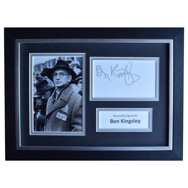 Ben Kingsley Signed A4 Framed Autograph Photo Display Schindlers List AFTAL COA Perfect Gift Memorabilia