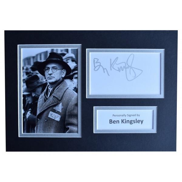 Ben Kingsley Signed Autograph A4 photo display Schindlers List AFTAL COA Perfect Gift Memorabilia