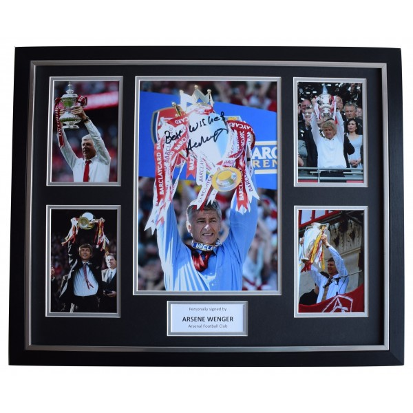 Arsene Wenger SIGNED Framed Photo Autograph Huge display Arsenal Football COA Perfect Gift Memorabilia