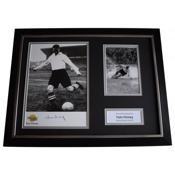 Tom Finney Signed Framed Photo Autograph 16x12 display Preston North End COA Perfect Gift Memorabilia