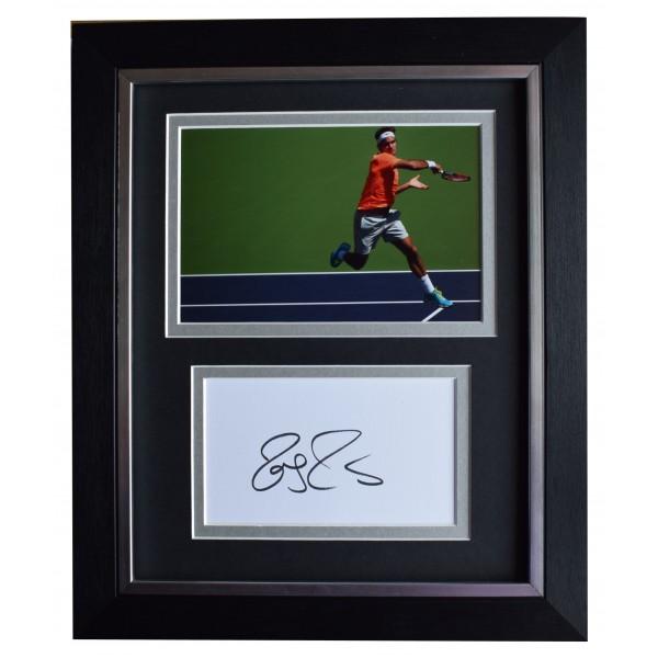 Roger Federer Signed 10x8 Framed Autograph Photo Display Tennis AFTAL COA Perfect Gift Memorabilia
