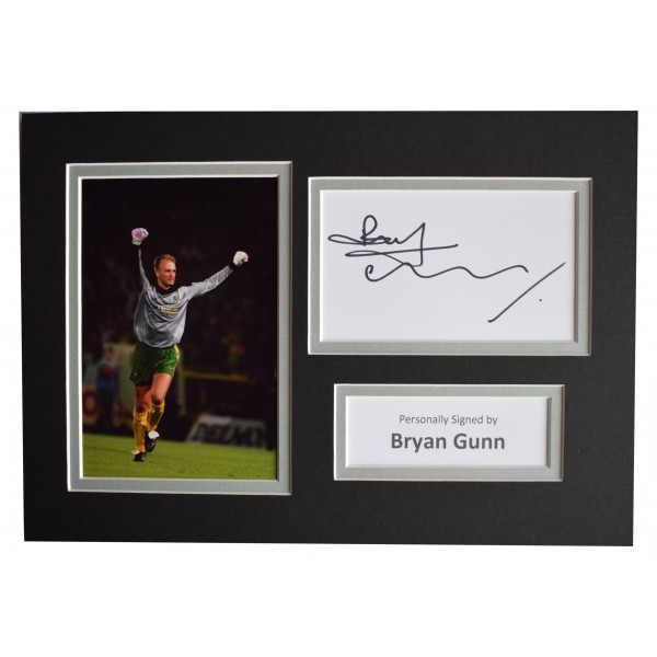 Bryan Gunn Signed Autograph A4 photo display Norwich City Sport AFTAL COA