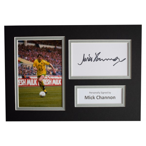 Mick Channon Signed Autograph A4 photo display Norwich City Sport AFTAL COA