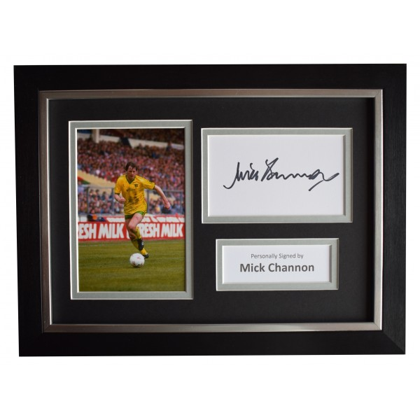 Mick Channon Signed A4 Framed Autograph Photo Display Norwich City AFTAL COA
