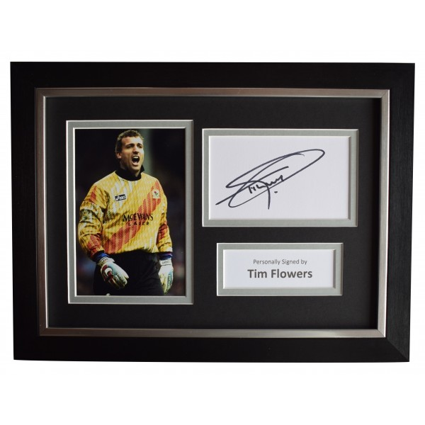 Tim Flowers Signed A4 Framed Autograph Photo Display Blackburn Rovers AFTAL COA