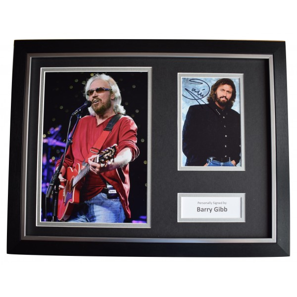 Barry Gibb Signed Autograph 16x12 framed photo display Bee Gees Music COA  Perfect Gift Memorabilia