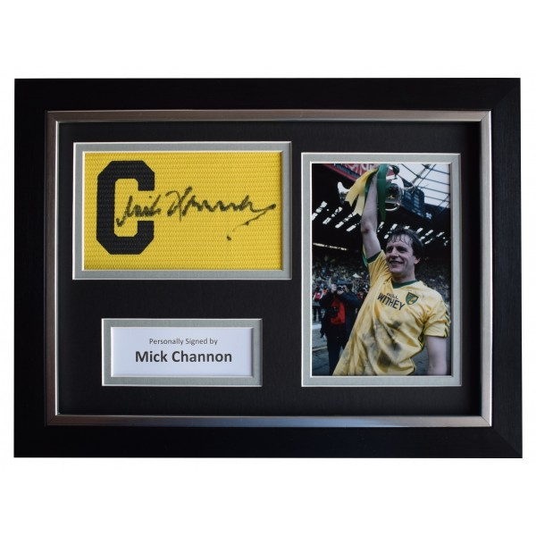 Mick Channon Signed FRAMED Captains Armband A4 Photo Display Norwich City COA Perfect Gift Memorabilia