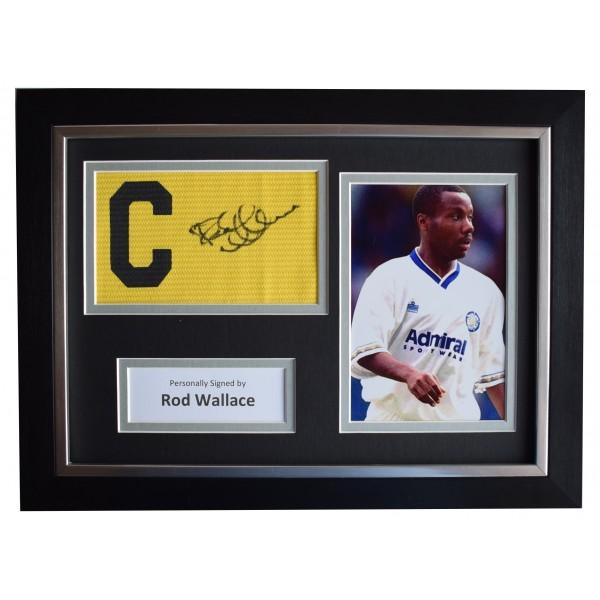 Rod Wallace Signed FRAMED Captains Armband A4 Photo Display Leeds Utd AFTAL COA Perfect Gift Memorabilia