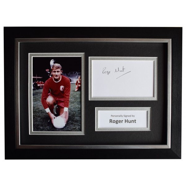 Roger Hunt Signed A4 Framed Autograph Photo Display Liverpool AFTAL COA Perfect Gift Memorabilia