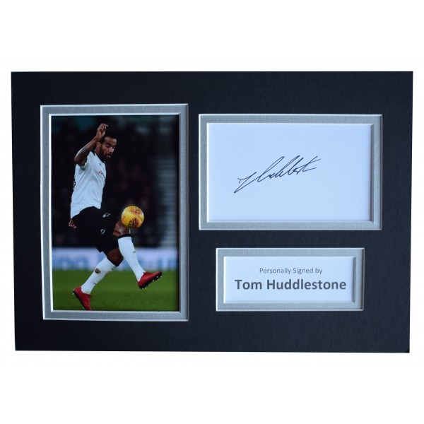Tom Huddlestone Signed Autograph A4 photo display Derby County AFTAL COA Perfect Gift Memorabilia