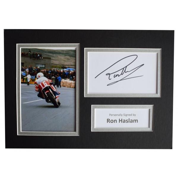 Ron Haslam Signed Autograph A4 photo display Superbikes Memorabilia AFTAL COA Perfect Gift Memorabilia
