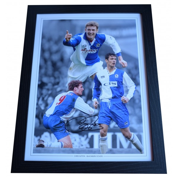Chris Sutton Signed Autograph 16x12 framed photo display Blackburn Rovers COA Perfect Gift Memorabilia