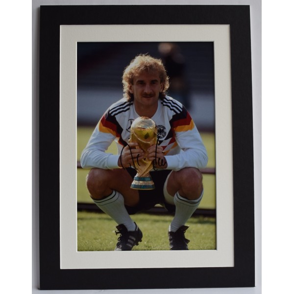 Rudi Voller Signed autograph 16x12 photo display Germany Football AFTAL COA Perfect Gift Memorabilia