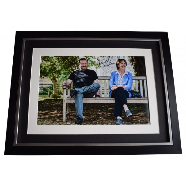 Ricky Gervais & Penelope Wilton Signed Autograph 16x12 framed photo display COA Perfect Gift Memorabilia