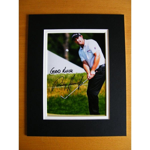 PADRAIG HARRINGTON GENUINE HAND SIGNED AUTOGRAPH 10X8 PHOTO MOUNT GOLF OPEN COA AFTAL MEMORABILIA