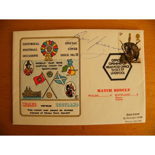 GORDON McQUEEN HAND SIGNED AUTOGRAPH FIRST DAY COVER FDC WALES V SCOTLAND COA   PERFECT GIFT