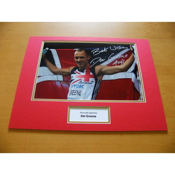 DAI GREENE GENUINE HAND SIGNED AUTOGRAPH 16X12 PHOTO MOUNT OLYMPIC 400m HURDLES CLEARANCE SALE