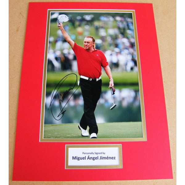 MIGUEL ANGEL JIMENEZ GENUINE HAND SIGNED AUTOGRAPH 16x12 PHOTO MOUNT GOLF & COA  PERFECT GIFT