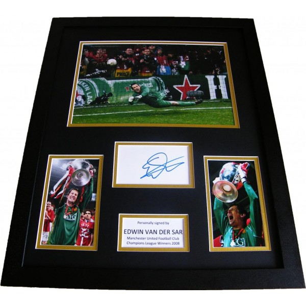 EDWIN VAN DER SAR HAND SIGNED & FRAMED HUGE PHOTO MOUNT DISPLAY MAN UNITED & COA PERFECT GIFT