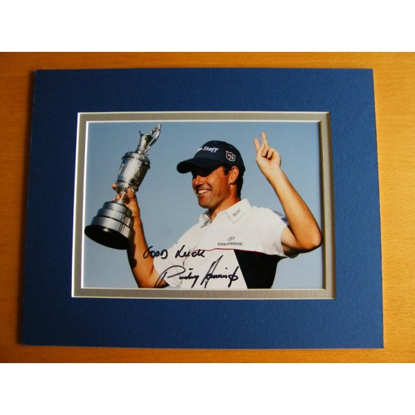 PADRAIG HARRINGTON GENUINE HAND SIGNED AUTOGRAPH 10X8 PHOTO MOUNT GOLF AFTAL Memorabilia