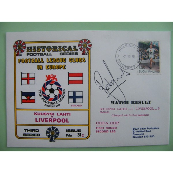 ROB JONES SIGNED AUTOGRAPH FIRST DAY COVER FDC LIVERPOOL V K LAHTI UEFA CUP 91      PERFECT GIFT