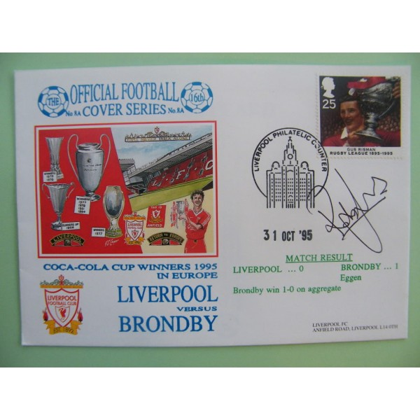 ROB JONES SIGNED AUTOGRAPH FIRST DAY COVER FDC LIVERPOOL V BRONDBY ECWC 95/96