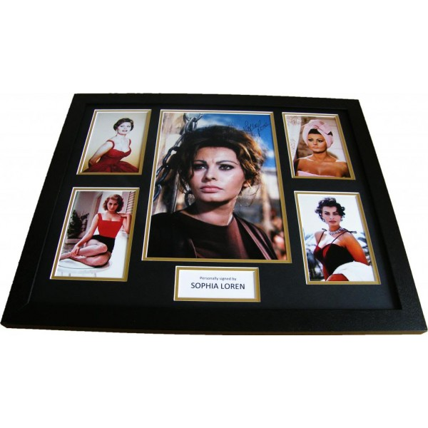 SOPHIA LOREN HAND SIGNED & FRAMED PHOTO MOUNT HUGE DISPLAY SEXY ACTRESS & COA      PERFECT GIFT