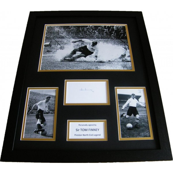 TOM FINNEY HAND SIGNED & FRAMED HUGE PHOTO MOUNT DISPLAY PRESTON NORTH END & COA