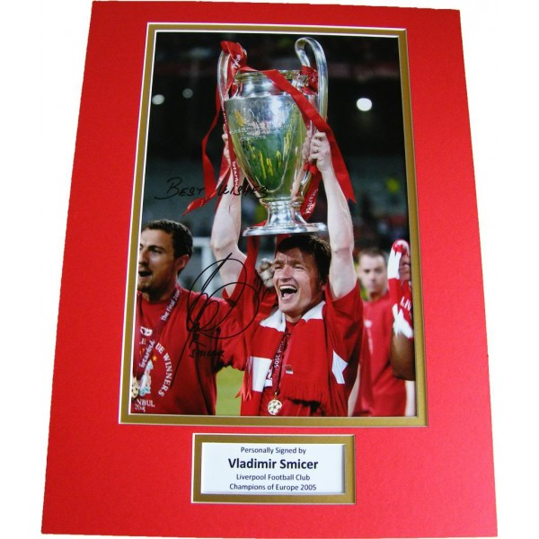 VLADIMIR SMICER HAND SIGNED AUTOGRAPH 16x12 PHOTO MOUNT LIVERPOOL CHAMPIONS COA   PERFECT GIFT