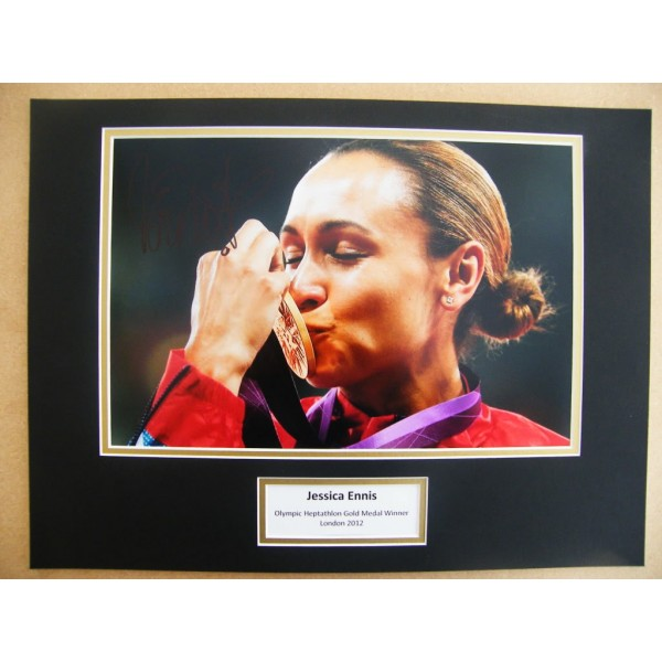 JESSICA ENNIS SIGNED AUTOGRAPH 16X12 PHOTO MOUNT OLYMPIC GOLD MEDAL 2012 & COA