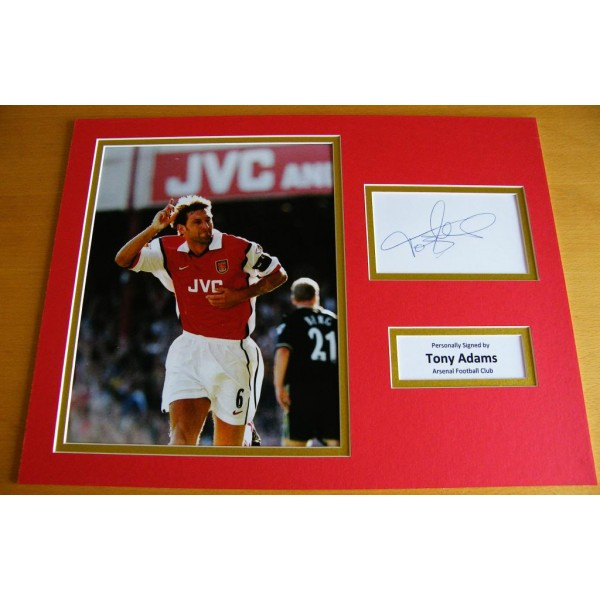 TONY ADAMS GENUINE HAND SIGNED AUTOGRAPH 16x12 PHOTO MOUNT ARSENAL LEGEND & COA