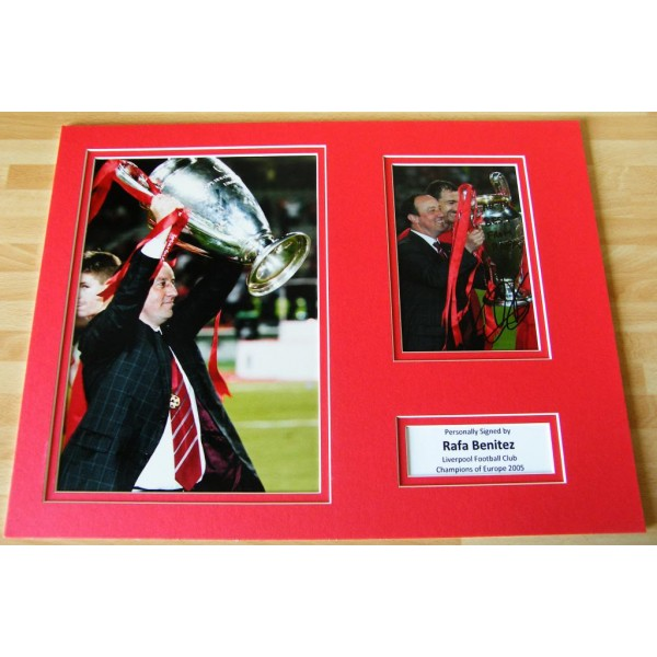RAFA BENITEZ HAND SIGNED AUTOGRAPH 16x12 PHOTO MOUNT LIVERPOOL CHAMPIONS 05 COA PERFECT GIFT