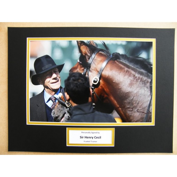 HENRY CECIL HAND SIGNED AUTOGRAPH 16X12 PHOTO MOUNT FRANKEL HORSE TRAINER      PERFECT GIFT