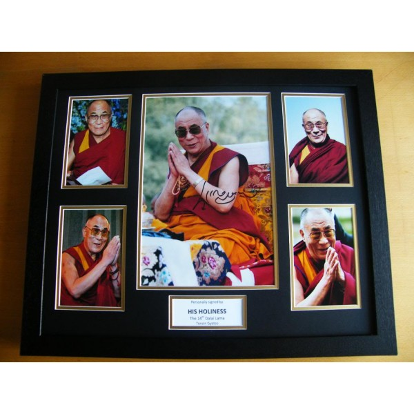 DALAI LAMA HAND SIGNED & FRAMED HUGE PHOTO MOUNT DISPLAY TENZIN GYATSO & COA