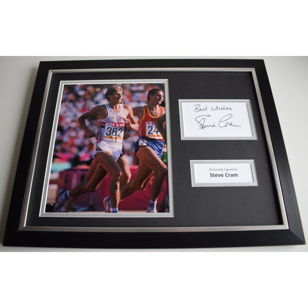 Steve Cram SIGNED FRAMED Photo Autograph 16x12 display athletics AFTAL & COA Memorabilia PERFECT GIFT
