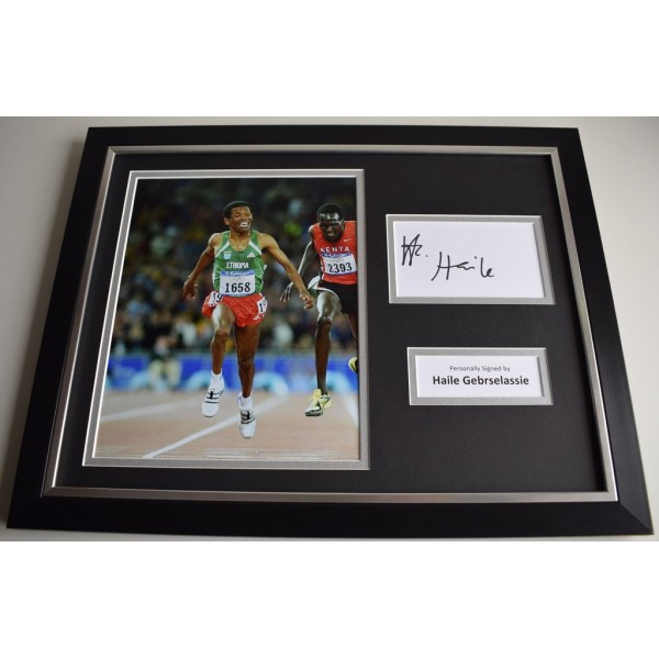 Haile Gebrselassie SIGNED FRAMED Photo Autograph 16x12 display Athletics AFTAL & COA Memorabilia PERFECT GIFT